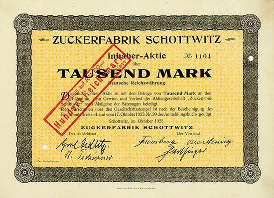 HWPH AG - Historische Wertpapiere - Zuckerfabrik Schottwitz Schottwitz, Oktober 1923, Inhaber-Aktie über 1.000 Mark, später auf 100 RM umgestempelt, #1104