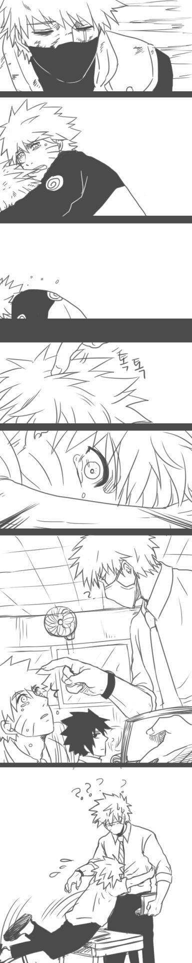 AU high school; student Naruto dreams of the shinobi world where his teacher Kakashi dies. | awww. <3 | slight NaruKaka