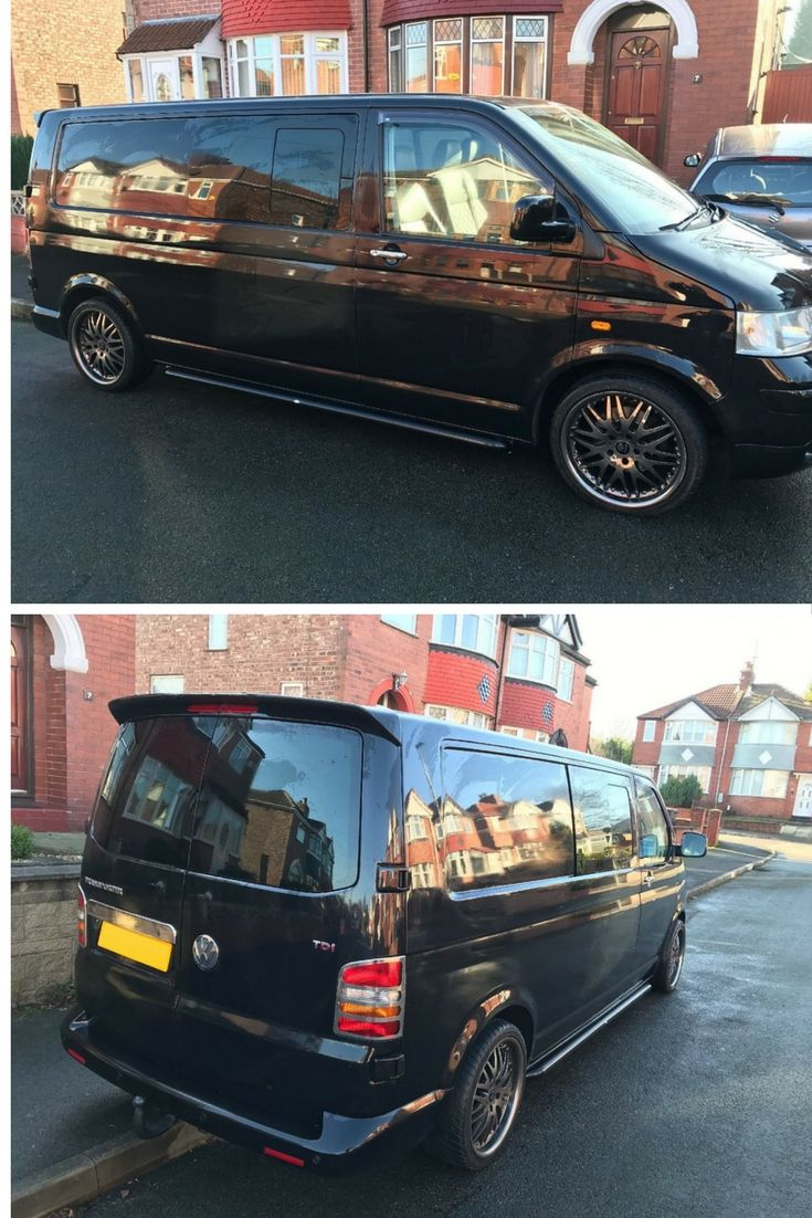 Black Van, Black Wheels, Black Side Bars!! Paul was happy with his black side bars for his T5.  They make a lovely addition.  #4x4 #Direct4x4 #Vans #T5 #Transporter #Caravelle #Volkswagen #VW #SideBars #SideSteps #RunningBoards #HappyCustomer #GreatFeedback