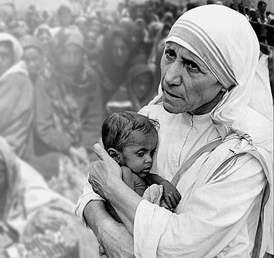"Mother Teresa:  a truly beautiful person.      ""People are often unreasonable and self-centered.  Forgive them anyway.  If you are kind, people may accuse you of ulterior motives.  Be kind anyway.  If you are honest, people may cheat you.  Be honest anyway.  If you find happiness, people may be jealous.  Be happy anyway.  The good you do today may be forgotten tomorrow.  Do good anyway.  Give the world the best you have and it may never be enough.  Give your best anyway.  For you see, in the…"