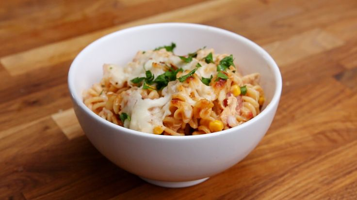 BBQ CHICKEN PASTA BAKE Servings: 8 INGREDIENTS 2 cups rotisserie chicken, shredded 1 (14.5 ounce) can diced tomatoes, drained 1 (15.25 ounce) can corn, drain...
