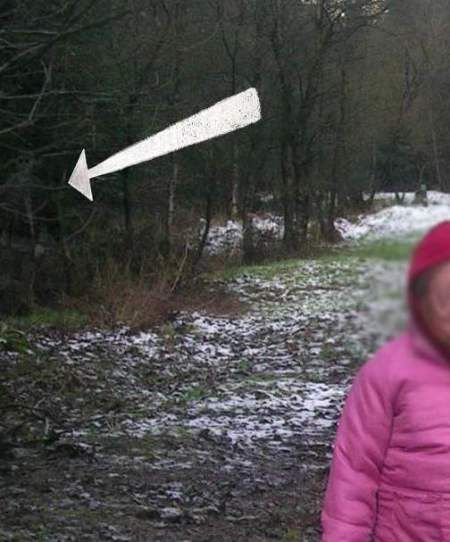 Ghost inwoods From the person that sent it in….  The attached pic was taken last year while on a walk in the local forest with my kids and dog. I stopped to take a picture near an old victorian mine and while enlarging the digital image spotted the figure in the tree line. I am not a ghost kind of person and so think it most likely just shadows and branches coming together to lok spooky. still creepy though.