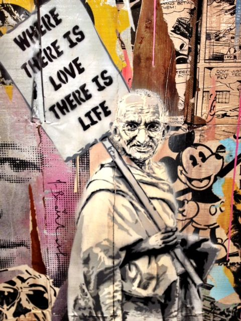 Gandhi 'Where there is love there is life' by Mr Brainwash