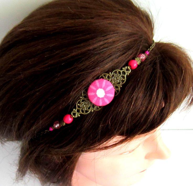 Head band bohème chic, bronze, fuchsia, bijou de tête, collier, cabochon en tissu, howlite, verre, perles magiques : Accessoires coiffure par color-life-bijoux