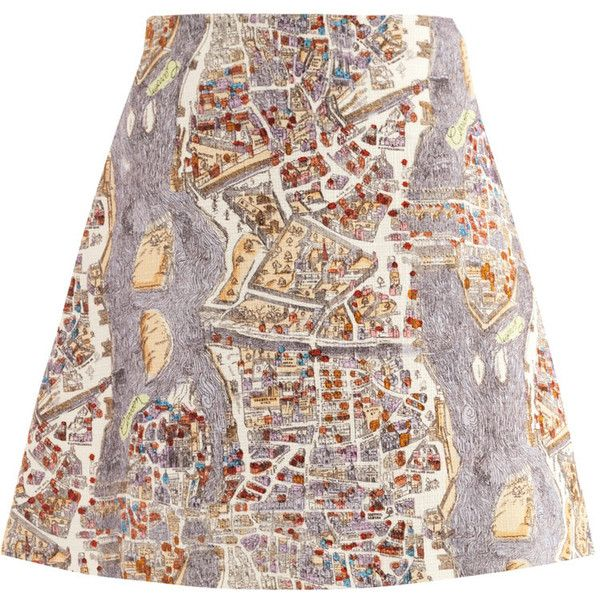 Carven Paris-print skirt (3.046.945 IDR) found on Polyvore