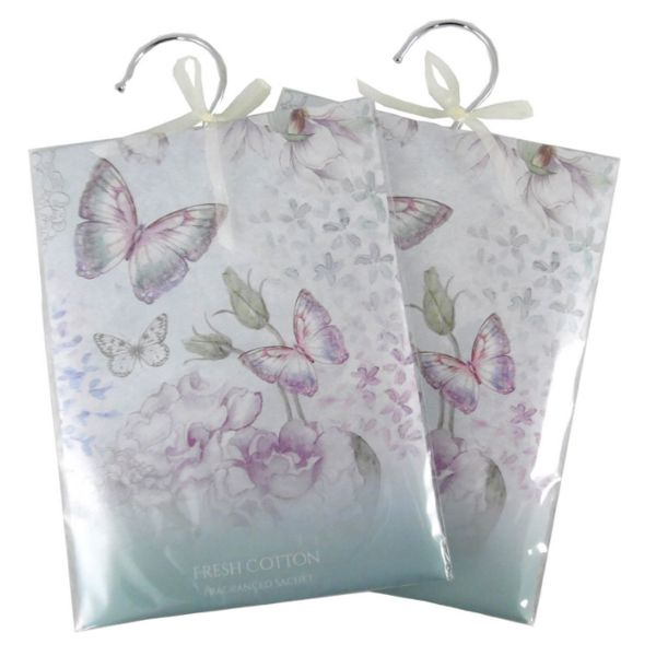 NEW IN STOCK. Fresh Cotton or Fresh Linen Fragrance Sachet Hanger - Large. Beautifully scented wardrobe freshener sachet with pretty butterfly or floral design. Each sachet has a hanging hook and pretty decorative ribbon and is ideal to keep you wardrobe or cupboards smelling fresh.  http://www.secretfashionfixes.com/p/fragrance-sachet-hanger----large-/sachet-large