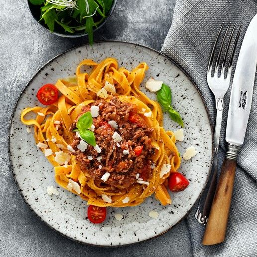 Spaghetti kødsovs med gulerodspasta