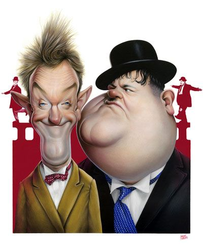 Laurel and Hardy illustrated by Achille Superbi
