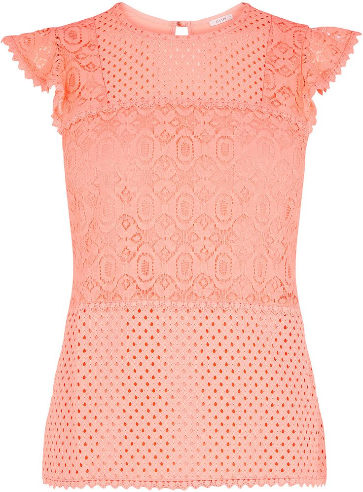Womens salmon patched lace shell from Oasis - £32 at ClothingByColour.com