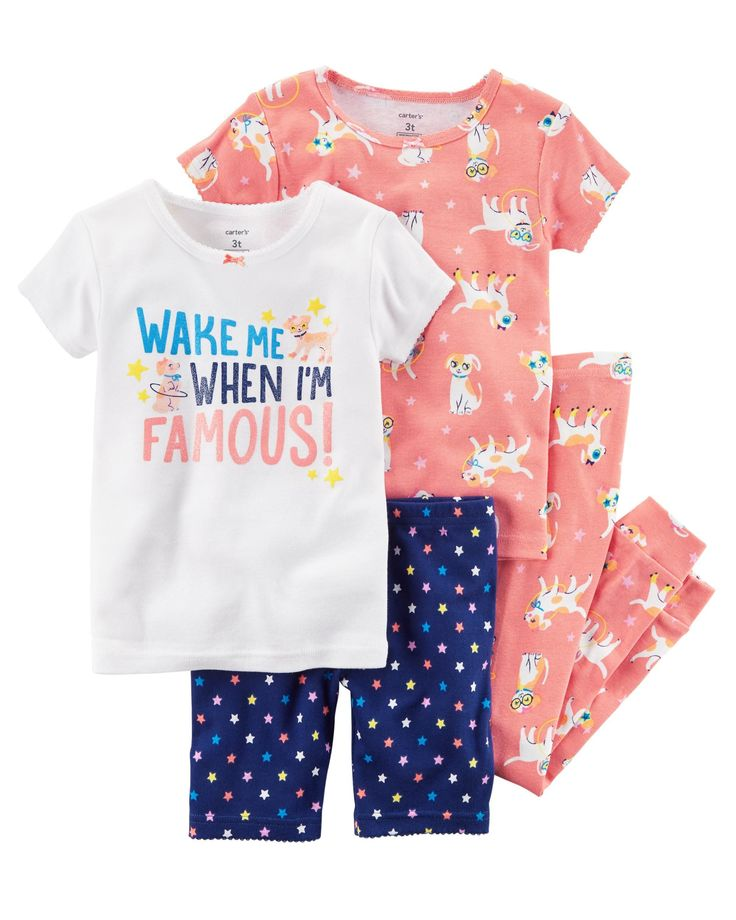 Kid Girl 4-Piece Snug Fit Cotton PJs | Carters.com