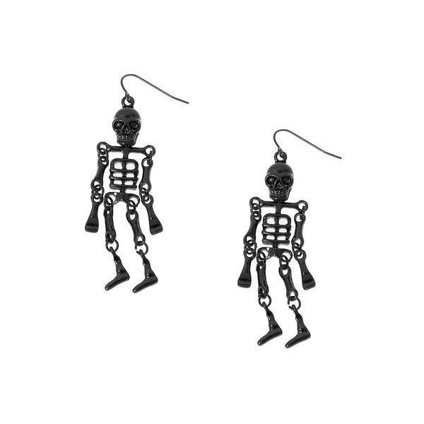 Halloween Black Skeleton Drop Earrings ($6.50) ❤ liked on Polyvore featuring jewelry, earrings, fish hook jewelry, metal jewelry, claires jewelry, claire's and skeleton earrings
