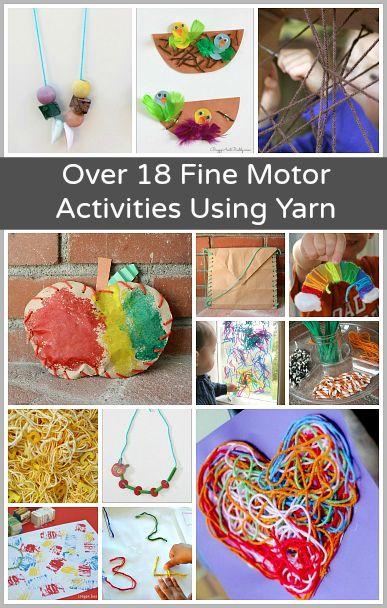 Over 18 Fine Motor Activities for Kids Using Yarn