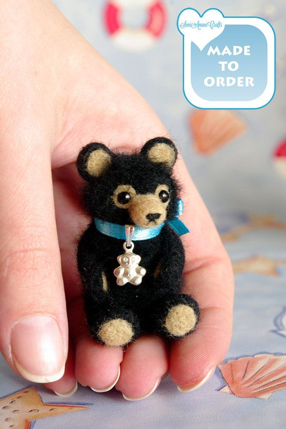 Black teddy bear miniature OOAK Needle felted by SaniAmaniCrafts