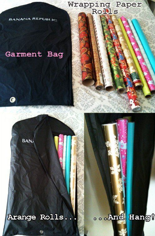 A standard garment bag is great for storing rolls of wrapping paper. Instead of keeping that paper in a box where it can be smashed, just put the rolls in a garment bag and hang it in your coat closet or wherever you have room. It takes up little space and will help to protect your paper from damage