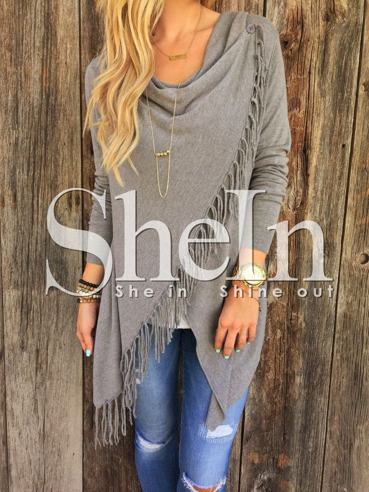 Shop Grey Long Sleeve Tassel Sweater online. SheIn offers Grey Long Sleeve Tassel Sweater & more to fit your fashionable needs.