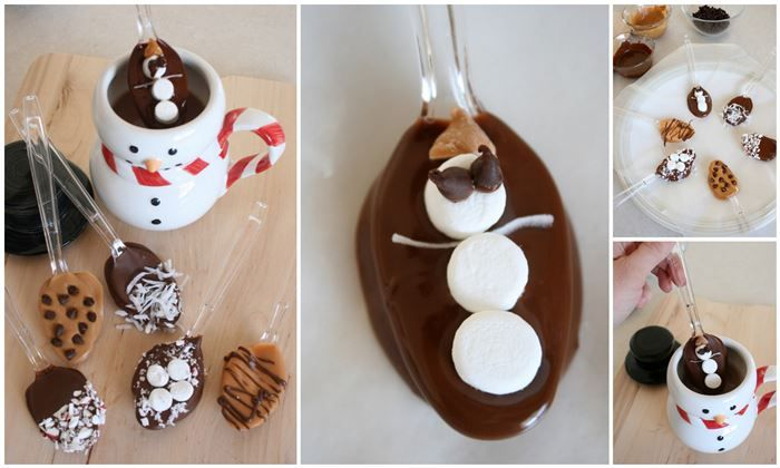 hot chocolate flavor spoons: these would be really cute as a Christmas gift basket along with a mug, hot chocolate mixes, maybe popcorn, movie... pretty wrapping :)