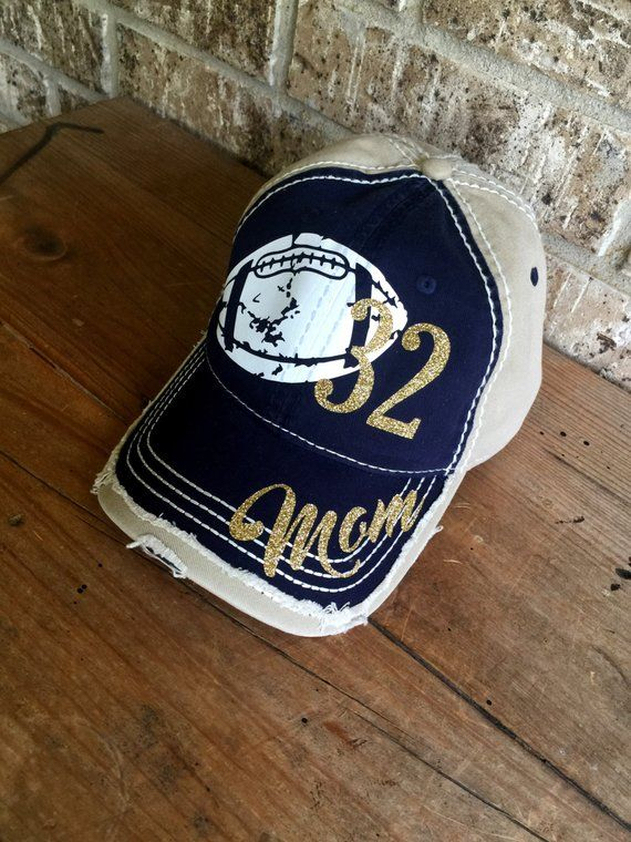 b44f78a66cc Super fun Football themed baseball cap!   ANY number or title can be done    Distressed all over   Leave a note at checkout with colors you would like  for ...