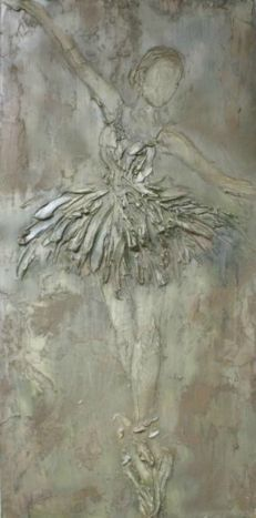 Rachel Schwind - She Dances - Plaster & Mixed Media on Panel - 48 in. x 24 in. - sold