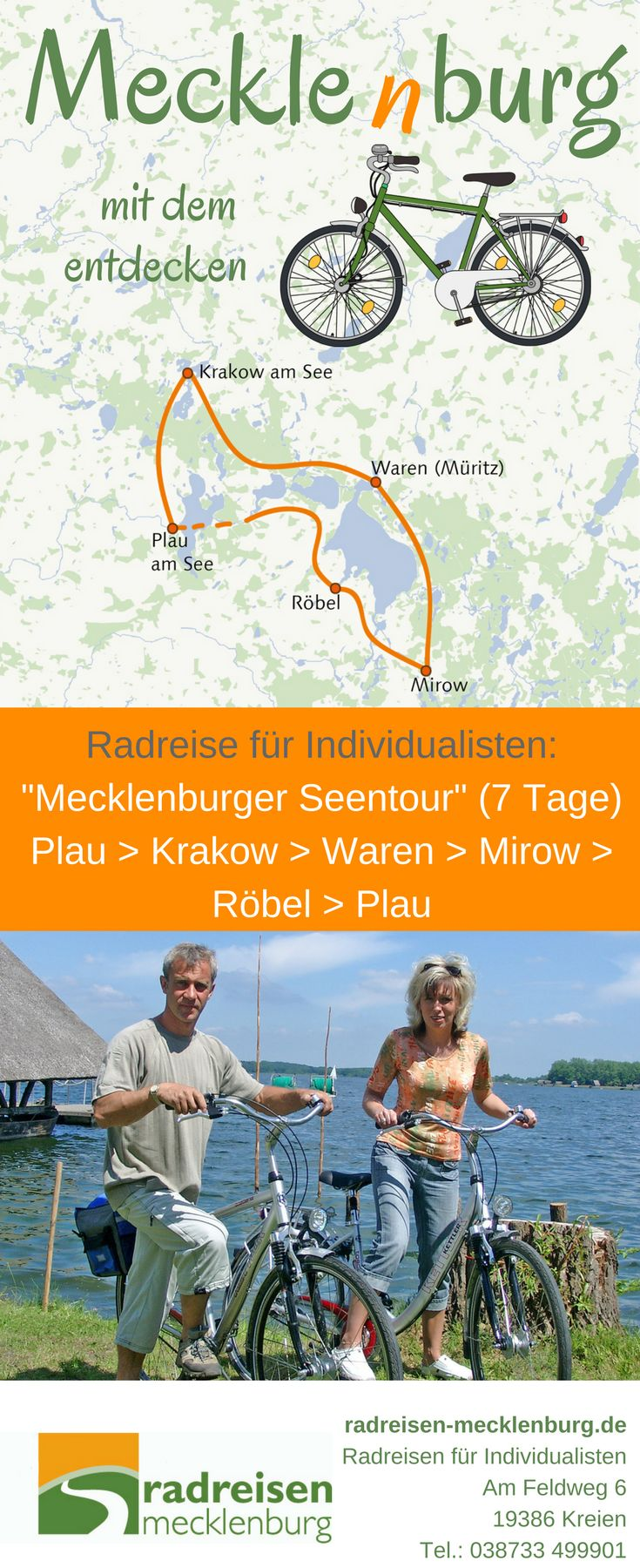 Die #Seenplatte auf dem Fahrrad erleben, hier ist die Tour dazu: Start in Plau am See, dann Radtour nach Krakow, weiter nach Waren und über Mirow und Röbel zurück nach Plau. Eine wunderschöne aktive Radurlaubswoche in #Mecklenburg. Informationen zu dieser und anderen Touren finden Sie auf unserer Website.