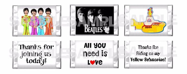 90 RETRO FAB FOUR 4 BEATLES Birthday Party Mini Candy Bar Wrappers PARTY FAVORS #Unbranded #BirthdayChild
