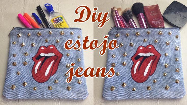 Estojo/Necessarie jeans com forro feito a mão Diy - Suellen Redesign