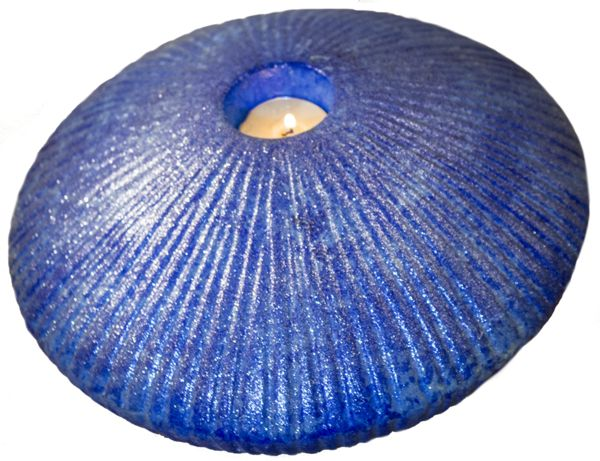 Blue Shell Candle Holder - One off candle holder