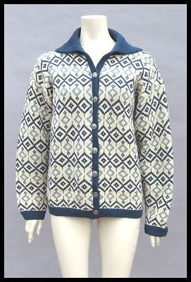 Vtg Norwegian Wool Fair Isle Handknitted Button Sweater Husfliden Cardigan M L | eBay