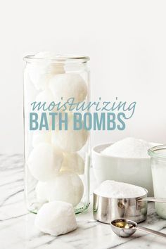 Recipe for DIY Moisturizing Beauty Bath Bombs to Soothe Dry, Itchy Winter Skin and Feet. These make a great idea for homemade gifts. Features coconut oil, vitamin e oil, epsom salt, and baking soda. /goodlifeeats/ http://www.goodlifeeats.com