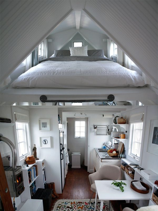 In the case of a house or structure with this kind of design and roof structure, it's easy to fit in an extra level. But if you want the rest of the space to remain open and to take advantage of the high ceilings, then only a portion of the roof can be used for this purpose. #smallspaces: