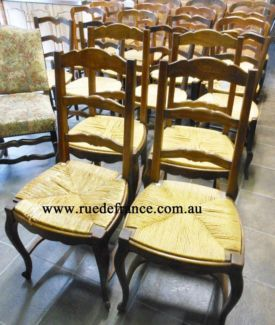FRENCH PROVINCIAL STYLE -- CARVED OAK DINING CHAIRS
