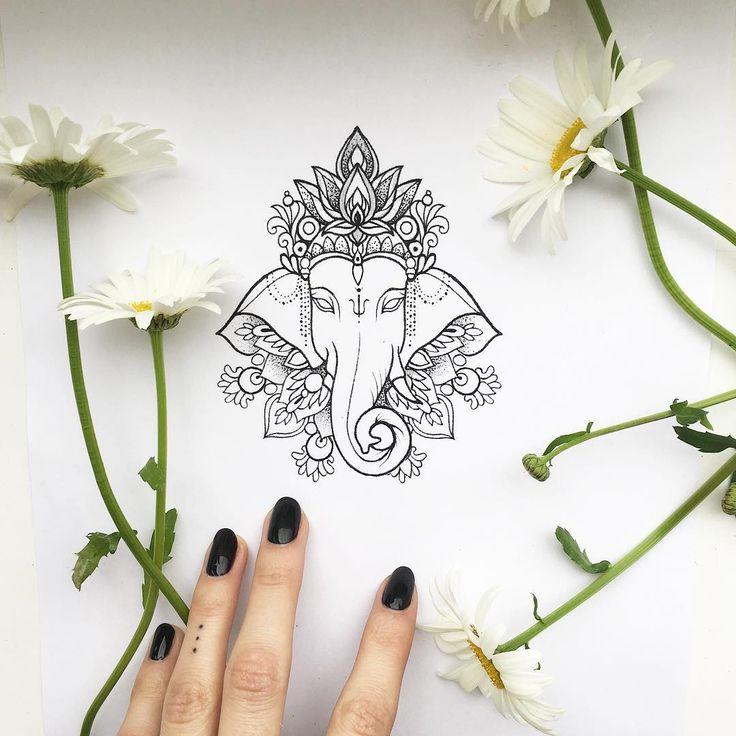 #sketch #tattoo #linework #dotwork #ganesha свободны слоник