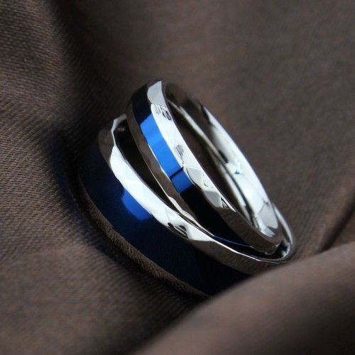 Blue In Middle Titanium Steel Promise Rings For Couple - USD $32.95