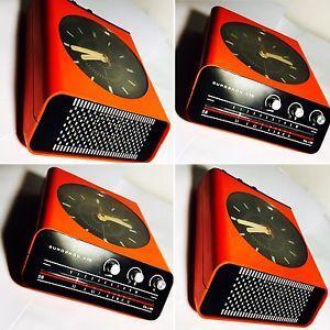 Radio Orologio Vintage Europhon H10 design Rampoldi Arancione  Anni '70 Raro | eBay