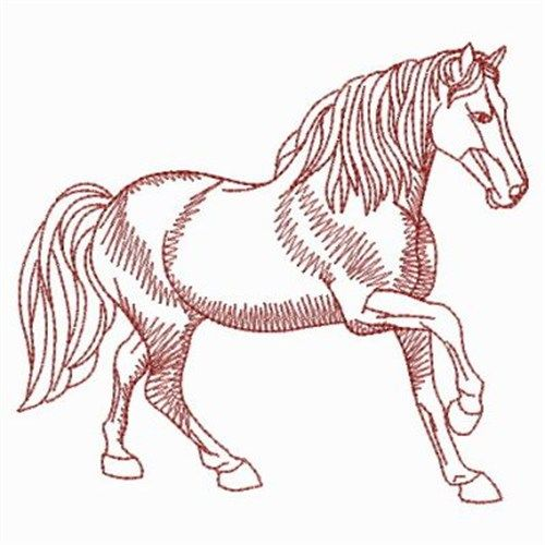 Redwork Horses embroidery design