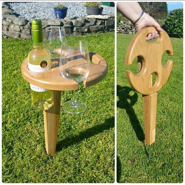 Portable outdoor wine table for two. Great for picnics, right?