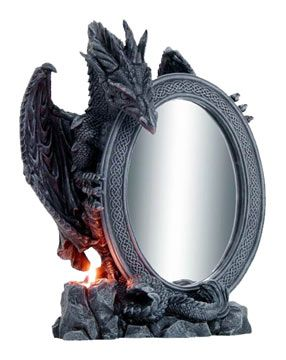 Oval Mirror with Celtic Borders and Gothic Dragon Statue
