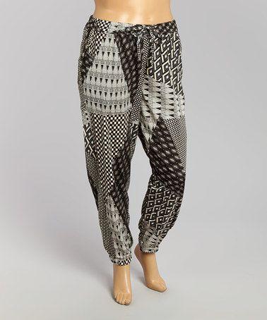 Look at this #zulilyfind! Black & White Patchwork Harem Pants - Plus #zulilyfinds