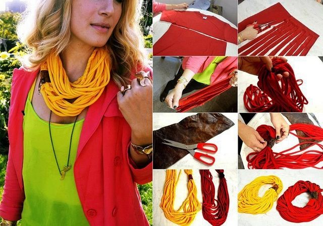 16 DIY scarves - Easy ideas reusing old T-shirts, sweaters and scraps