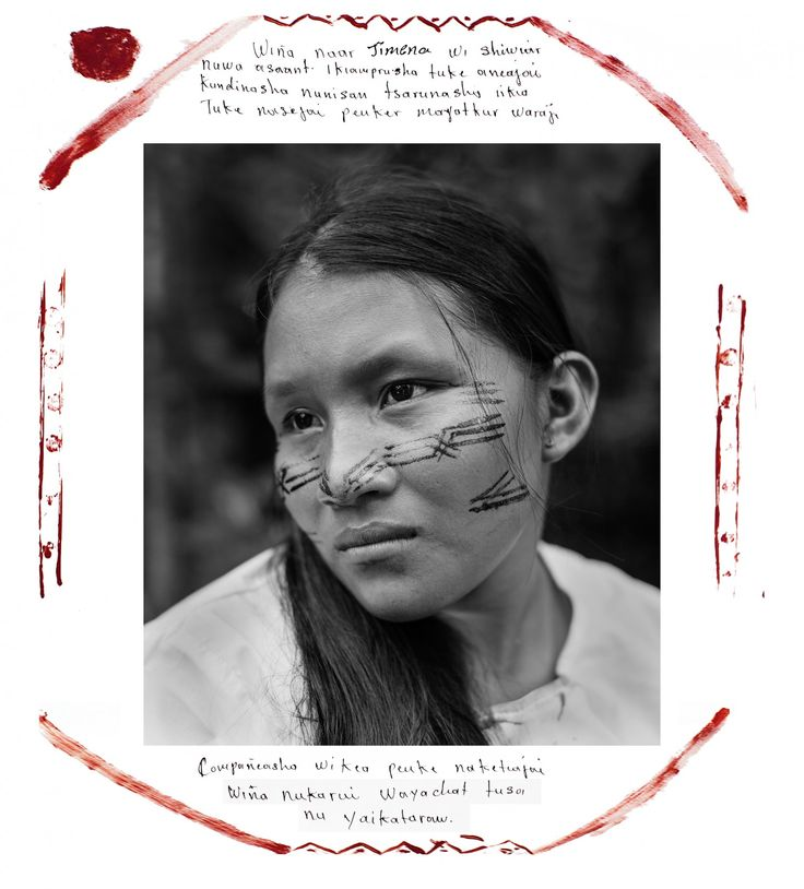 """""""My name is Jimena. As a Shiwiar woman, I love my country. To my nature, I love my animals, my monkey, my fish, my rivers, air that gives us life. For this reason, we do not want to exploit the oil in our territory."""" (Felipe Jacome)"""