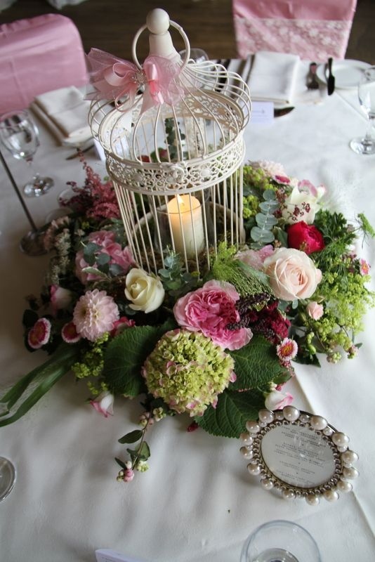 Vintage bird cage table centre piece flowers and