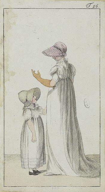A dress and bonnet for this little girl. Journal des Luxus und der Moden, 1802/3?