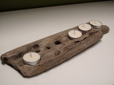 Driftwood candle holder: Seventwenty82 as found on a polar bear's tale blog site