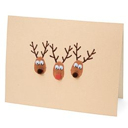 Thumbprint Reindeer | Homemade Christmas Card Ideas | A Homemade Christmas |