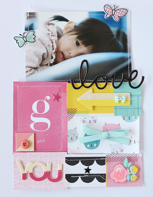Love you made with Crate Paper Cute Girl collection                                                                                                                                                                                 Mais