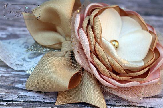 Princess  Pink and Gold Headband or Hairclip  M2M by joellegfritz