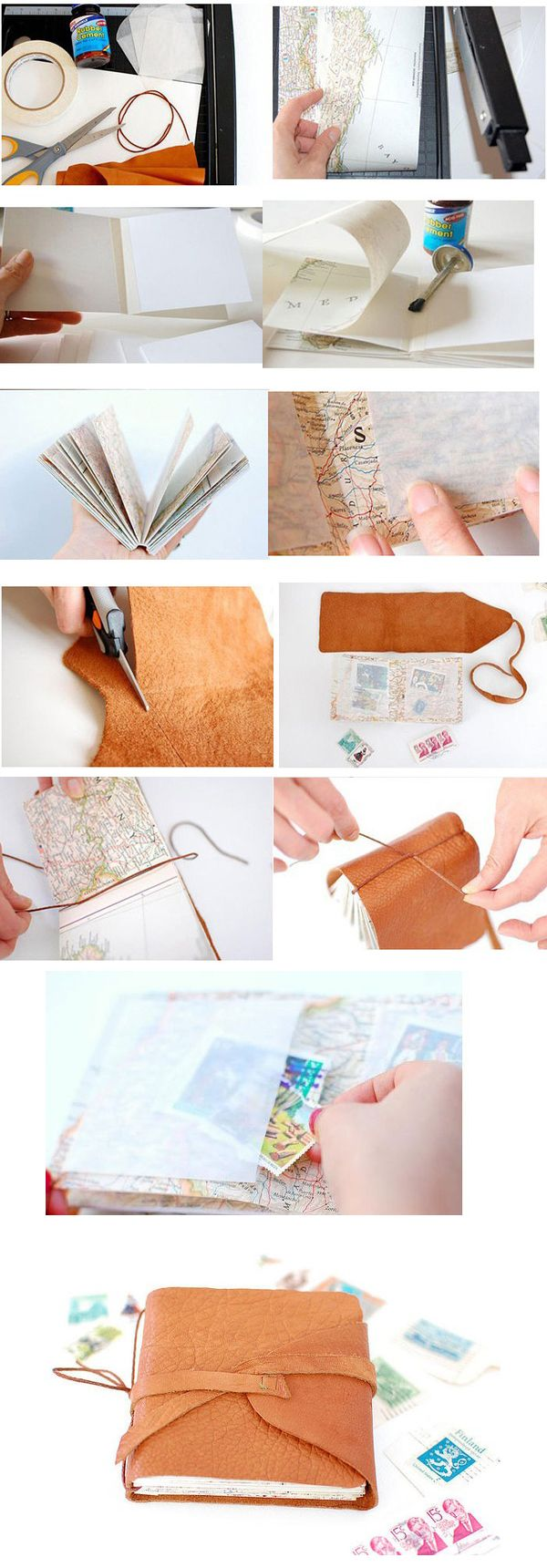 Handmade leather books, every girl should have one.  This is pretty traditional, but I love the simple illustrations that explain the process.