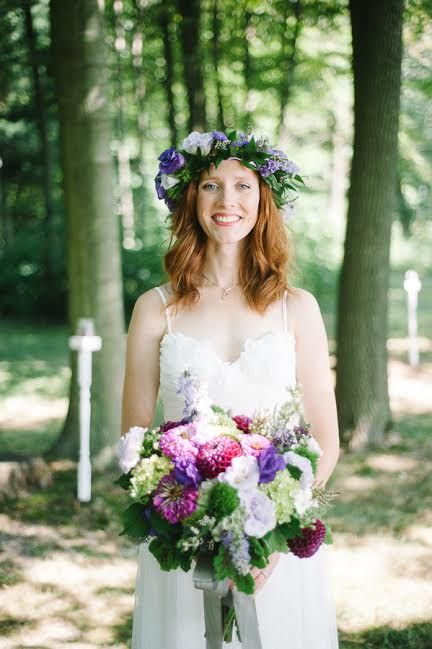 Purple garden floral crown and a beautifully natural bridal bouquet.  Includes hydrangeas, zinnia, lisanthus, dahlias, larkspur, green tricillium dianthus, finished with lush garden greens.