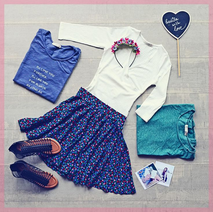 The Sunset outfit:  Floral girly skirt, white shirt and black sandals! Let it bloom <3  Badila flatlays <3 SS16 Collection