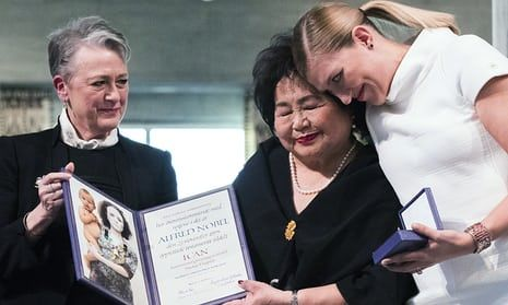 Leader of the Nobel committee Berit Reiss-Andersen, left, presents the award to Hiroshima survivor Setsuko Thurlow and Beatrice Fihn, leader of International Campaign to Abolish Nuclear Weapons in Oslo- sobering reality  - stark warning with moronic leaders having nuclear control!