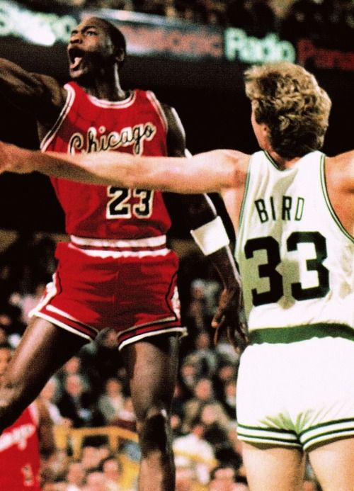 """""""I think he's God disguised as Michael Jordan.  He is the most awesome player in the NBA.  Today in the Boston Garden, on National TV, in the Playoffs, he put on one of the greatest shows of all time.  I couldn't believe some could do that against the Boston Celtics.""""    -Larry Bird (after MJ torched them for 63)"""